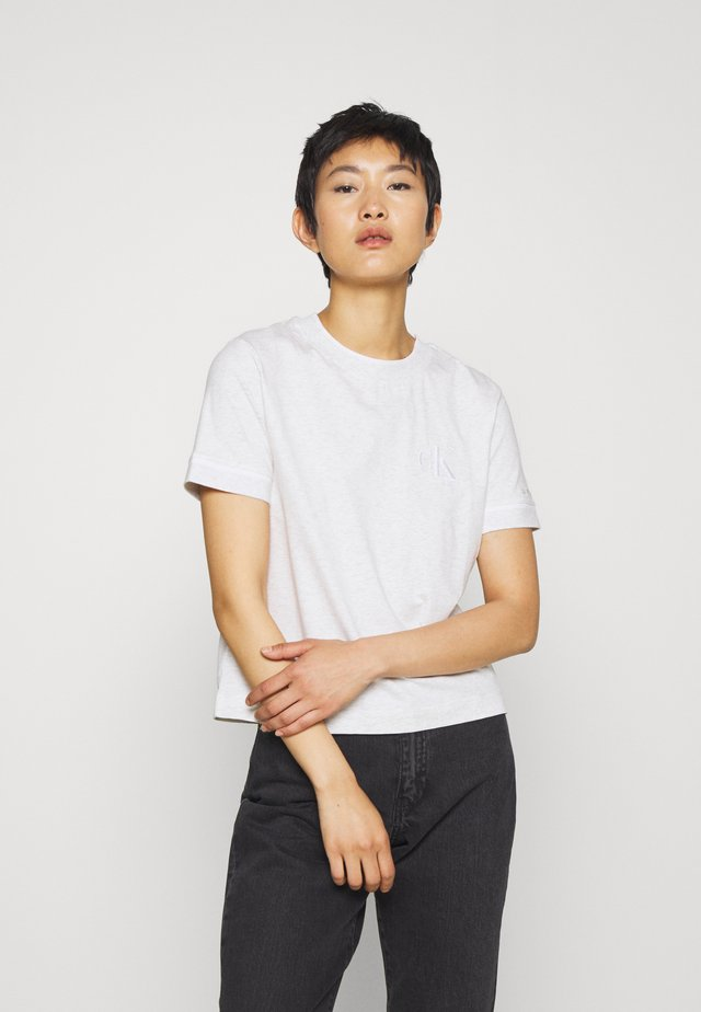 EMBROIDERY TIPPING TEE - T-Shirt print - white/grey heather