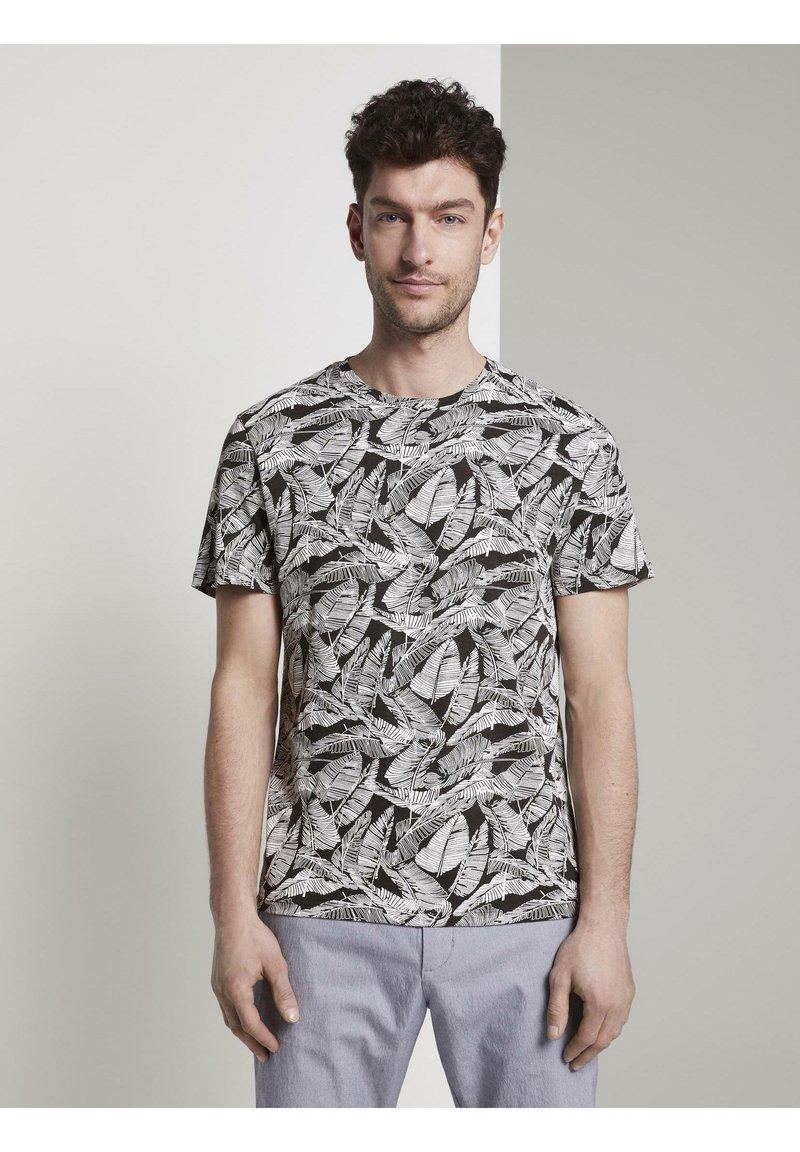 TOM TAILOR - Print T-shirt - dark grey leaf design