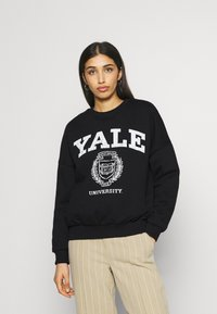 Even&Odd - YALE College Print Oversized Sweatshirt - Felpa - black - 0