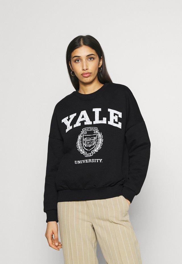 YALE College Print Oversized Sweatshirt - Felpa - black