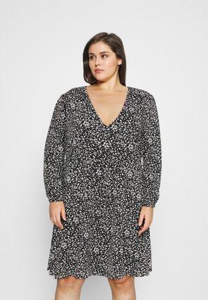 WRAP MINI DRESS - Day dress - black print