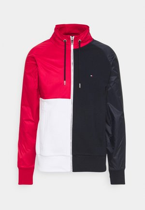 MIX MEDIA COLORBLOCK ZIP THROUGH - Zip-up hoodie - desert sky/primary red /white