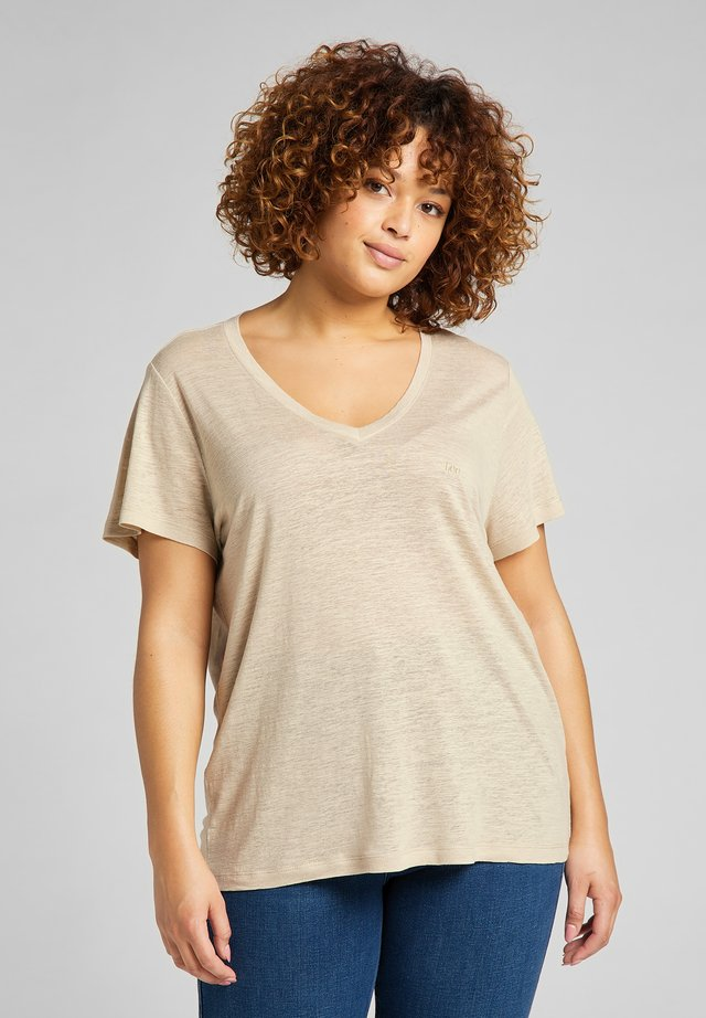 V NECK  - T-shirt basic - service sand