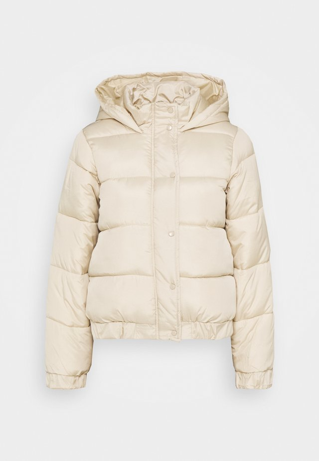 HOODED PUFFER JACKET - Winter jacket - stone