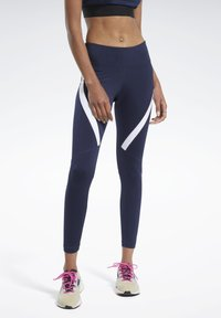 Reebok - WORKOUT READY VECTOR LEGGINGS - Tights - blue - 0