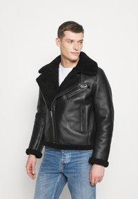 Tommy Hilfiger - BIKER JACKET - Leather jacket - black - 0