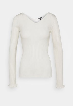 SLFCOSTA FRILL WIDE NECK - Pullover - snow white