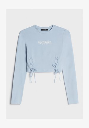 MIT SCHNÜRUNG UND GRAFIK - Long sleeved top - light blue