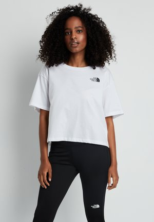 CROPPED SIMPLE DOME TEE - T-shirt z nadrukiem - white