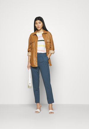 PLEATED PANTS - Trousers - stormy sea blue