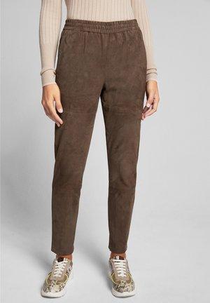 LANE - Leather trousers - braun
