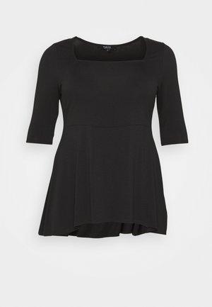 SQUARE NECK TUNIC - T-shirts - black