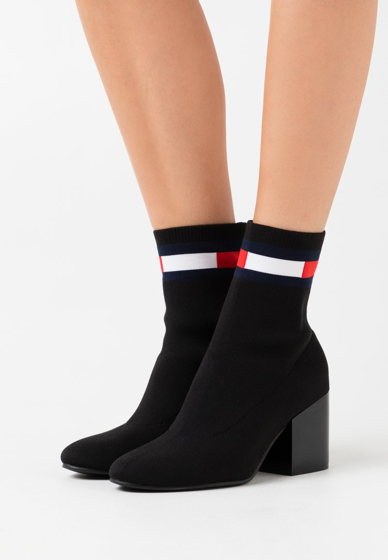Tommy Jeans - FLAG SOCK MID HEEL BOOT - Classic ankle boots - black