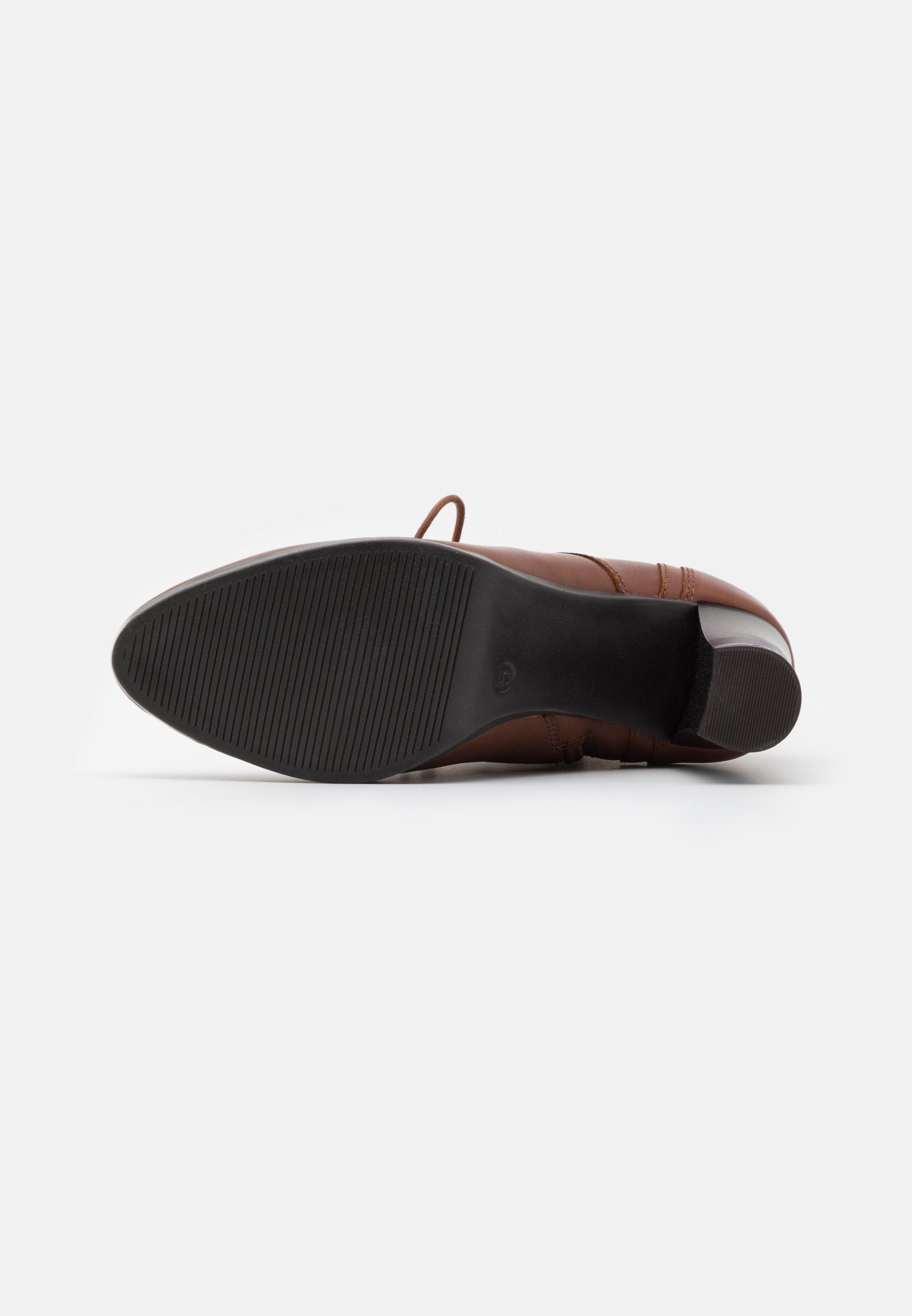 Caprice Boots - Ankelboots Med Høye Hæler Cognac