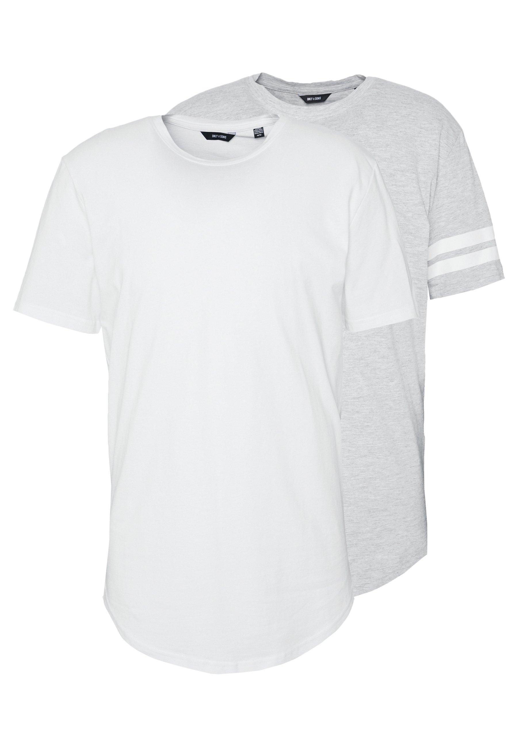Herren ONSMATT LONGY SOLID STRIPE 2 PACK - T-Shirt print