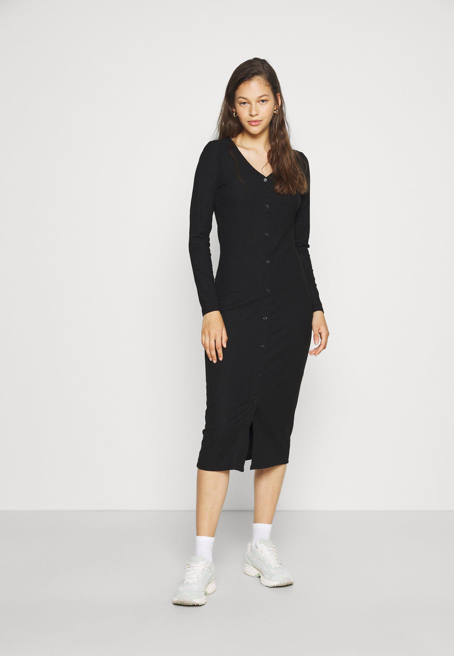 Women ONLNELLA LONG BUTTON DRESS - Jersey dress