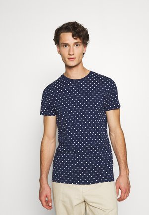 ALLOVER PRINTED TEE - Print T-shirt - dark blue/white