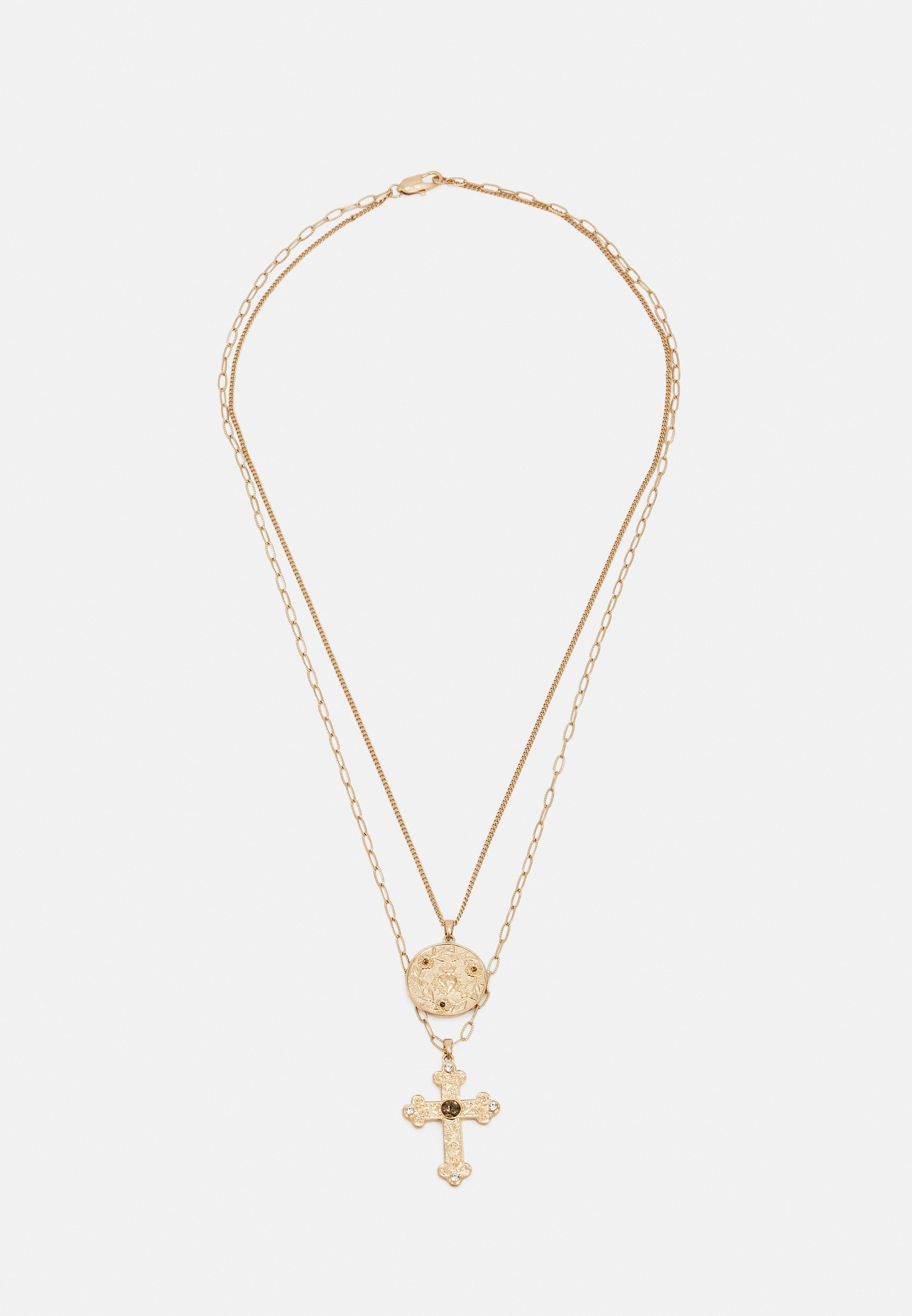 Homme CROSS AND COIN LAYERED NECKLACE UNISEX - Collier