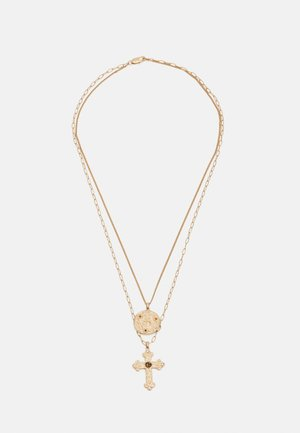 CROSS AND COIN LAYERED NECKLACE UNISEX - Necklace - gold-coloured