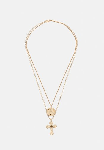 CROSS AND COIN LAYERED NECKLACE UNISEX - Collana - gold-coloured