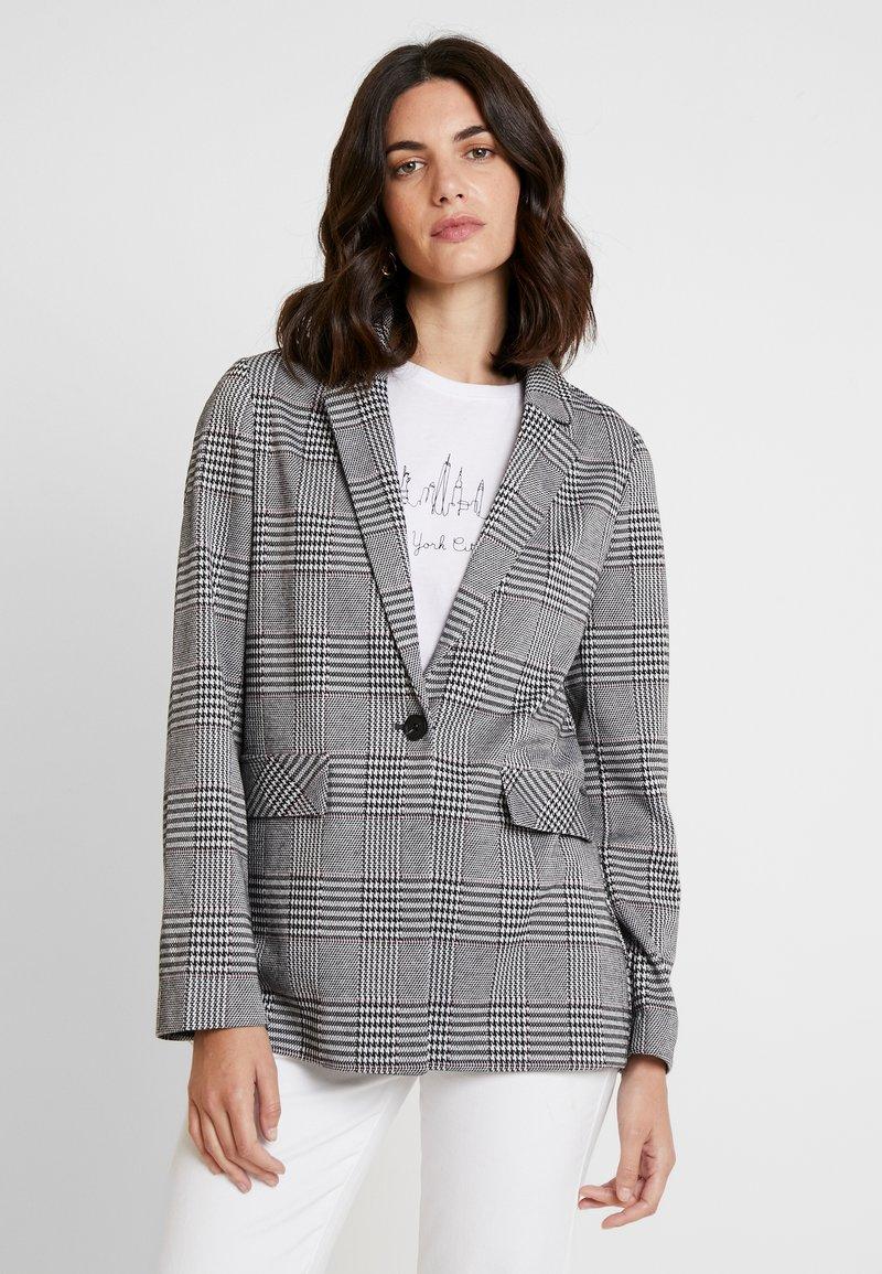 TOM TAILOR DENIM - GIRLFRIEND CHECK - Blazer - black/white/grey