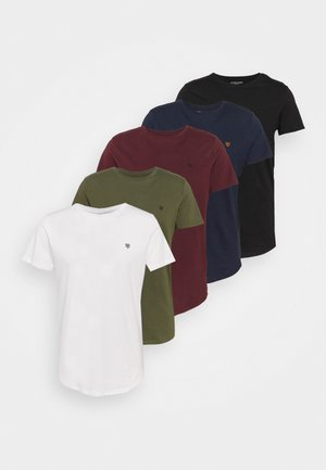 JPRBRODY TEE CREW NECK 5 PACK - Basic T-shirt - navy blazer/white/olive night/black/portroyale