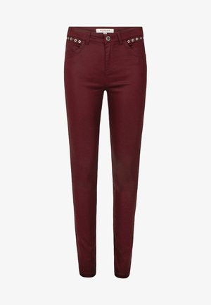 HIGH WAISTED TROUSERS - Trousers - dark red