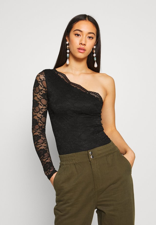 ONE SHOULDER - T-shirt à manches longues - black
