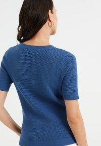 WE Fashion - MET STRUCTUUR - Basic T-shirt - navy blue - 2