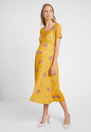 SCOOP NECK BOW MIDI DRESS FLORAL - Maxi dress - orange