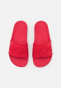 MCM - WOMENS BIG LOGO RUBBER SLIDES - Pool slides - lychee - 4