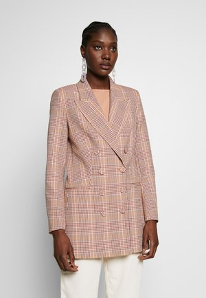 CHECK DOUBLEBREASTED - Manteau court - blush