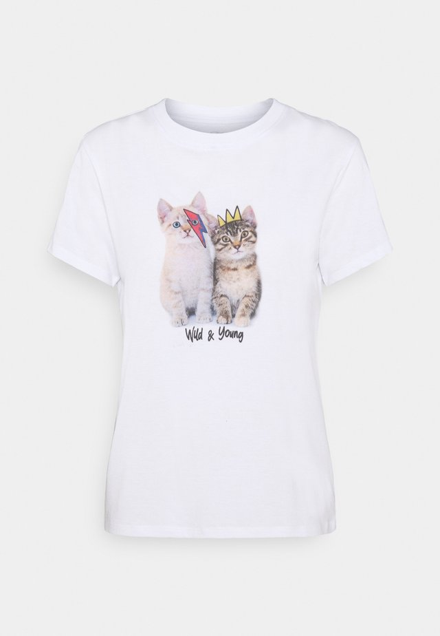 WILD AND YOUNG CATS TEE - T-shirt med print - white