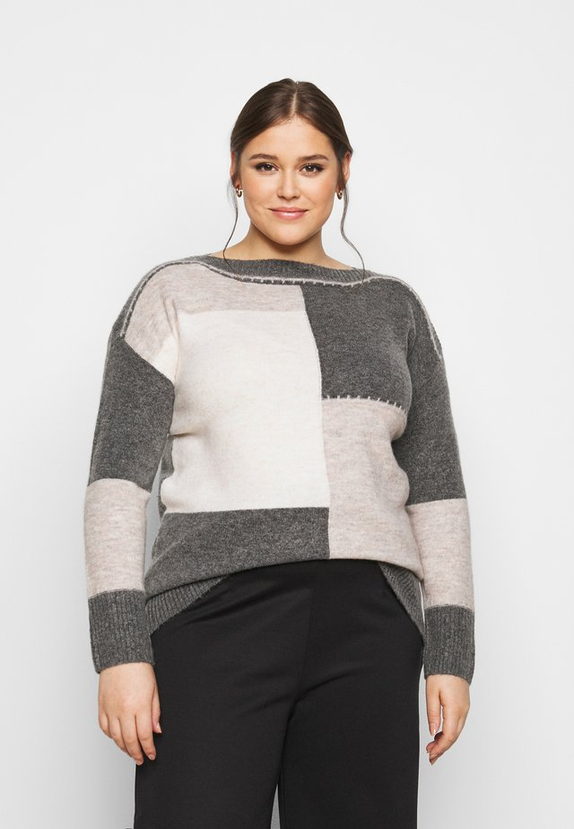 GREY COLOUR BLOCK JUMPER - Jersey de punto - grey
