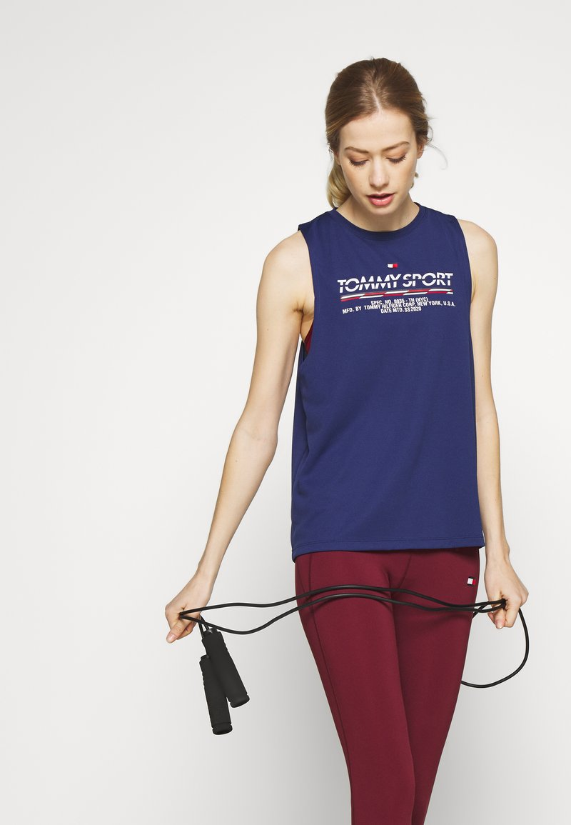 Tommy Sport - PRINTED TANK - Sports shirt - blue