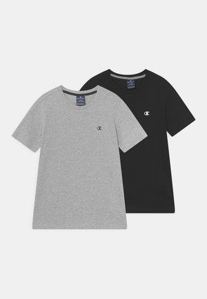 BASICS CREW NECK 2 PACK - T-shirts basic - mottled grey/black