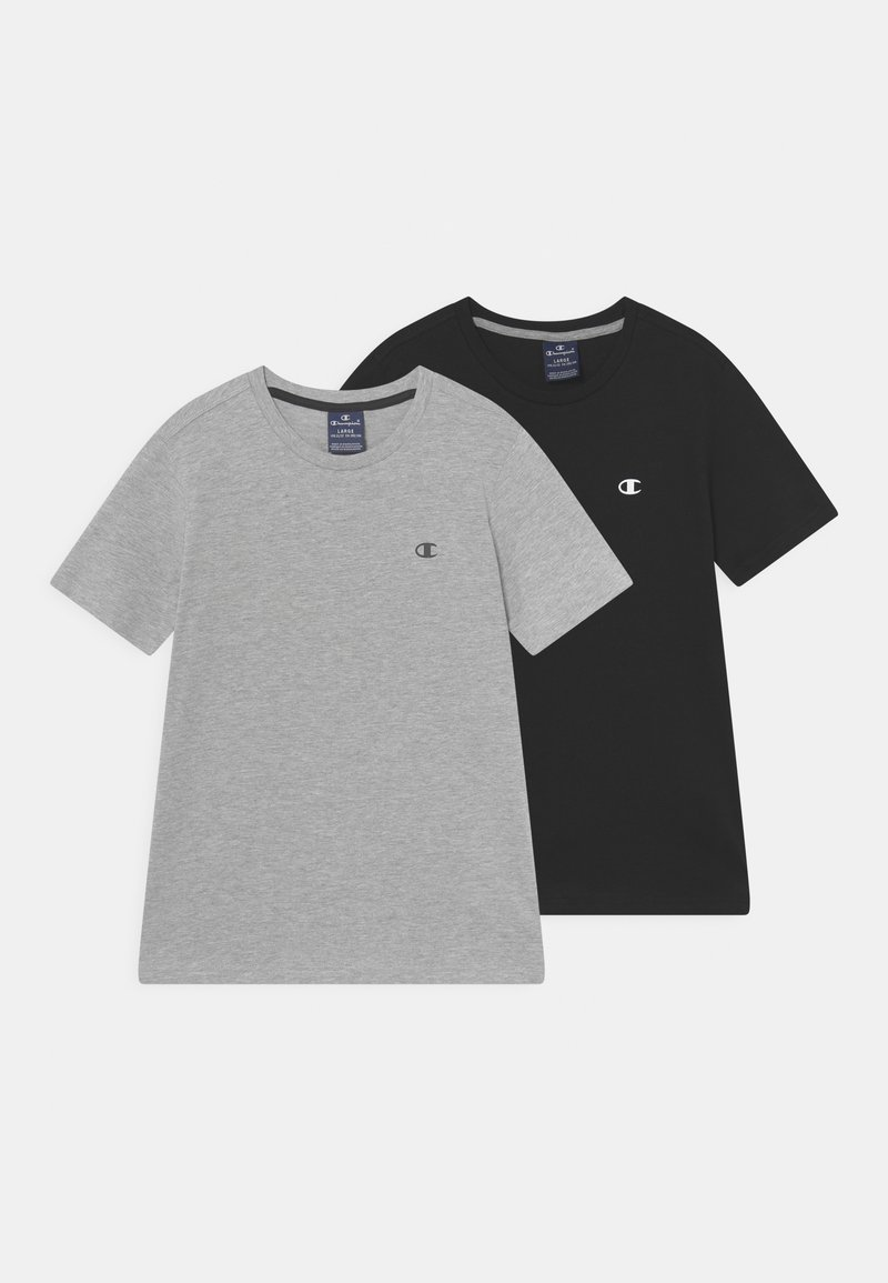 Champion - BASICS CREW NECK 2 PACK - T-shirt basic - mottled grey/black