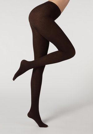 IN RIPPENSTRICK - Tights -  dark brown cashmere ribbed