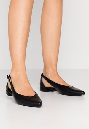 Ankle strap ballet pumps - black