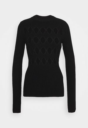 CUT OUT ARGYLE JUMPER - Svetr - black