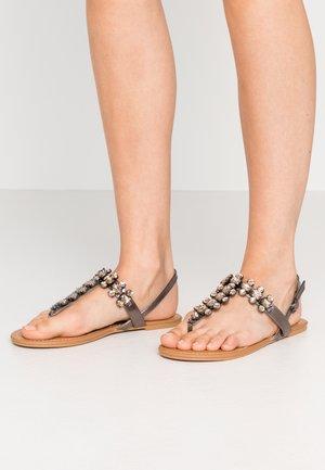ELI BLING TOEPOST - T-bar sandals - pewter