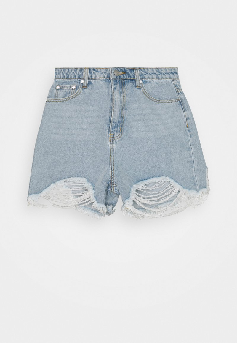Missguided Tall - EXTREME FRAY RIOT - Shorts di jeans - light blue