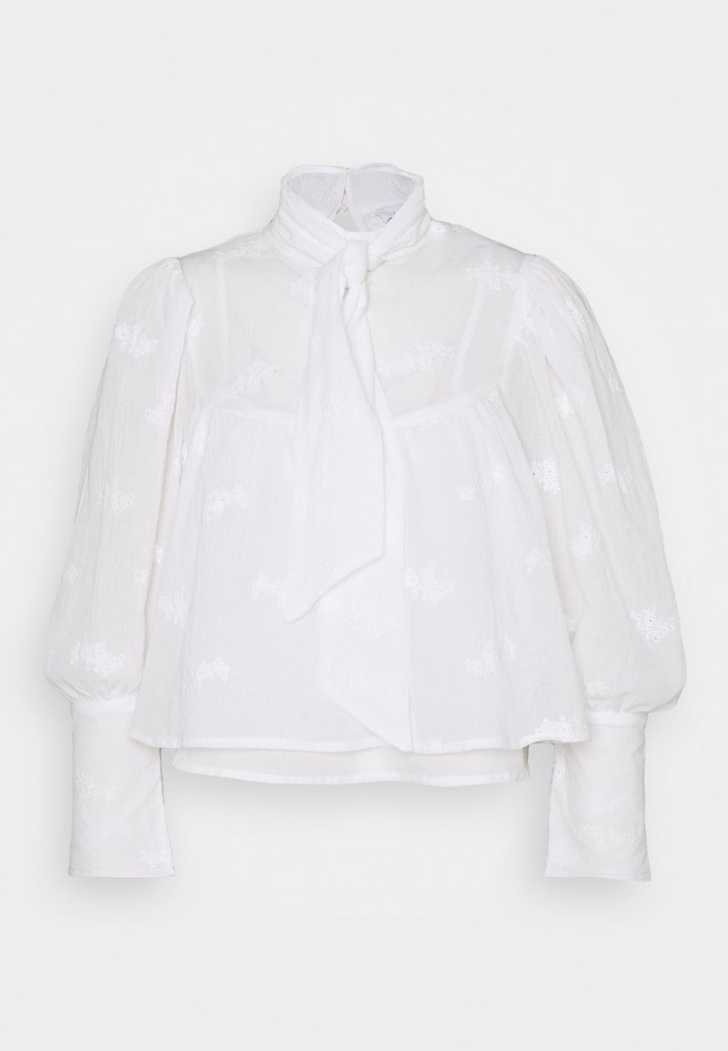 Lost Ink Petite - TIE NECK VOLUME SLEEVE BLOUSE - Blouse - white
