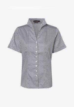 Button-down blouse - white, dark blue