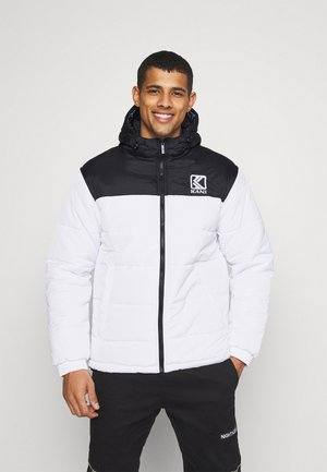 HOODED BLOCK PUFFER JACKET - Winter jacket - white
