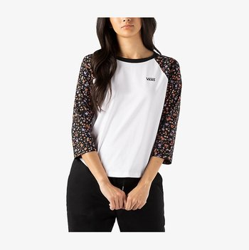 Long sleeved top - white/covered ditsy