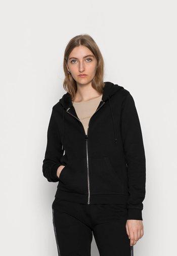 LOGO TAPE ZIP THROUGH HOODIE - Zip-up sweatshirt - black