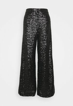 EWAIST WIDE LEG CLUSTER SEQUIN - Trousers - black