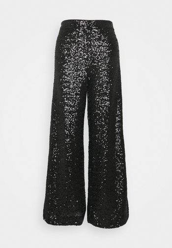 EWAIST WIDE LEG CLUSTER SEQUIN - Trousers - black