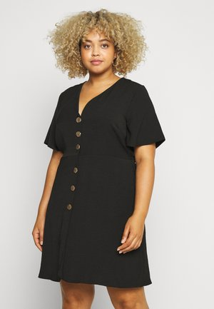 HERRINGBONE DRESS - Shirt dress - black